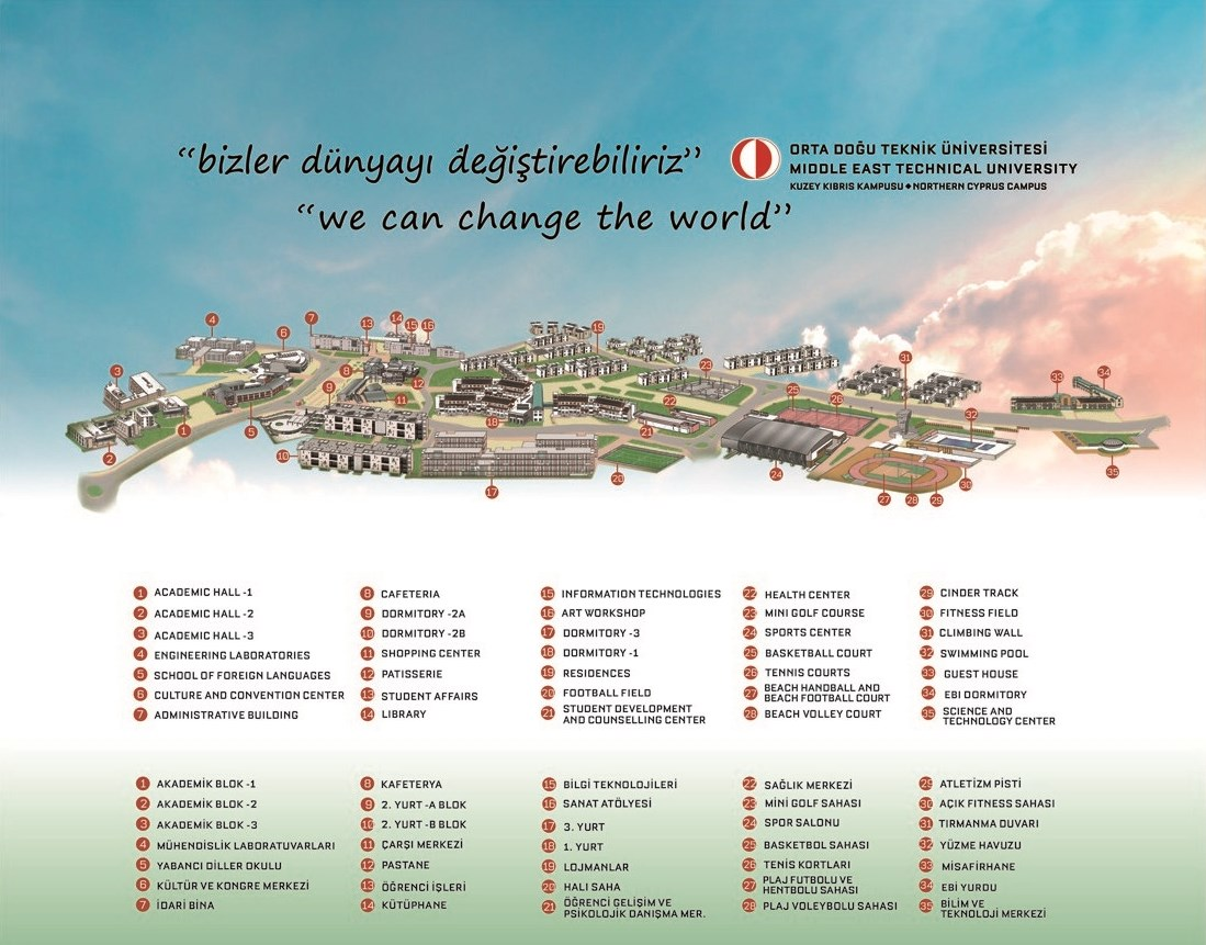 Location Campus Map METU Middle East Technical University - Map of northern cyprus in english